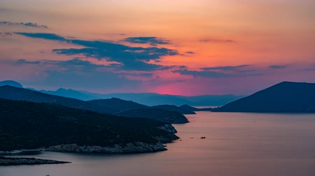peloponnese : Panoramic view of sunset on small island Poros, Greece - Timelapse of summer sunset