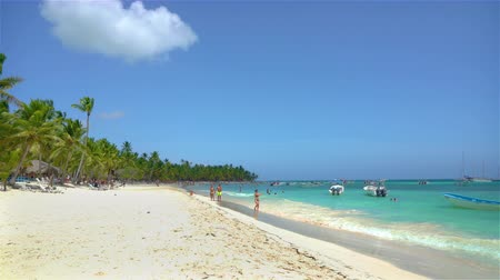 saona : Saona, Dominican Republic - June 18, 2018: tourists enjoy beaytiful ocean beach on Saona island in Carribean sea. Stock Footage