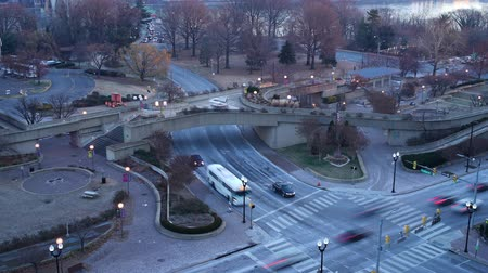 lapse : View on Key bridge at dawn: timelapse of night to day transition, Washington DC, USA