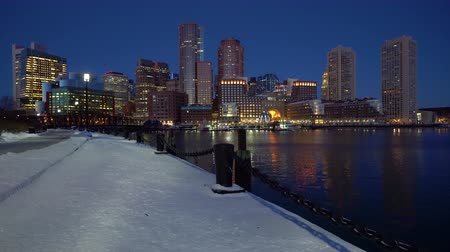 Бостон : View on Boston city center at sunrise in winter Стоковые видеозаписи
