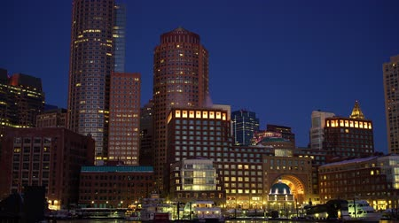 massachusetts : View on Boston city center at sunrise: timelapse of night to day transition Stock Footage