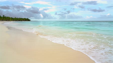 saona : Beautiful ocean beach in dominican republic at stormy day