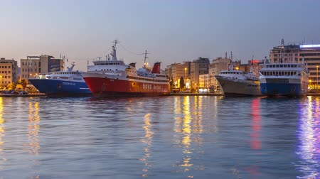 řek : Timelapse of day to night transition in port Piraeus, Greece