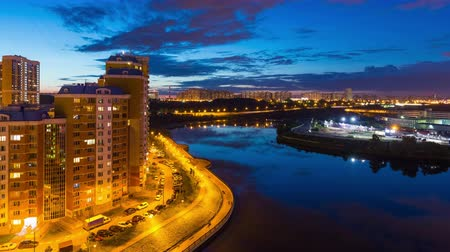 moscow panorama : Timelapse of day to night transition over Moscow river