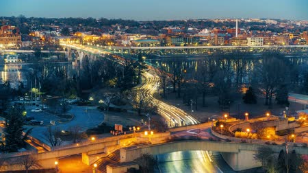 lapse : View on Key bridge at dusk: timelapse of dat to night transition, Washington DC, USA