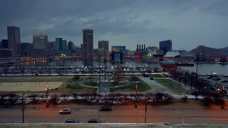 md : View on Baltimore skyline and Inner Harbor at dusk, Baltimore, Maryland