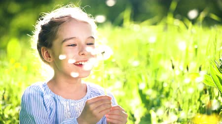sopro : Beautiful little girl at sunny summer day blowing dandelion on green meadow. Summer fun concept. Vídeos