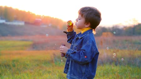 bańki mydlane : Smiling boy blowing up the soap bubbles on the autumn landscape