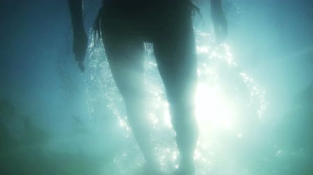 šnorchl : underwater silhouette of girl diving in the sea Dostupné videozáznamy