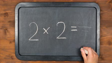 мел : blackboard with wrong maths equation, stopmotion animation Стоковые видеозаписи