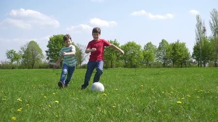 playfield : Two boys hit the ball on green playfield Stock Footage