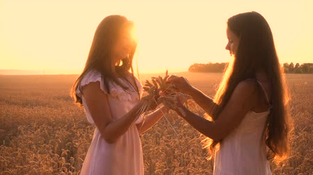 花輪 : Two girls make a wreath of ears on wheat field