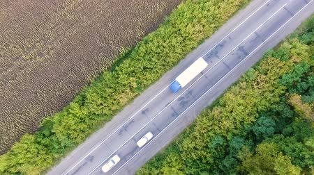 Aerial view of road with cars and sunflower fields Wideo