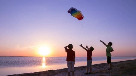 kids launching the rainbow kite together Стоковые видеозаписи