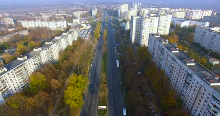 külvárosok : Autumn aerial view to residential area and avenue on in Kharkiv