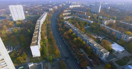 Autumn aerial view to residential area and avenue on in Kharkiv