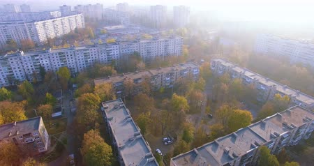 architecture and urbanism : Autumn aerial view to residential area in Kharkiv, Ukraine
