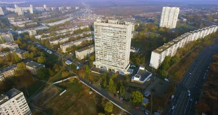 Autumn aerial view to residential area and skyscraper in Kharkiv Стоковые видеозаписи