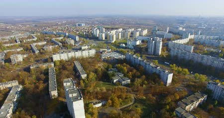 Aerial panorama of residential area Saltivka in Kharkiv