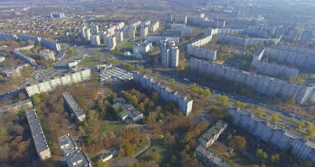 outskirts : Aerial panoramic view of residential area Saltivka in Kharkiv Stock Footage