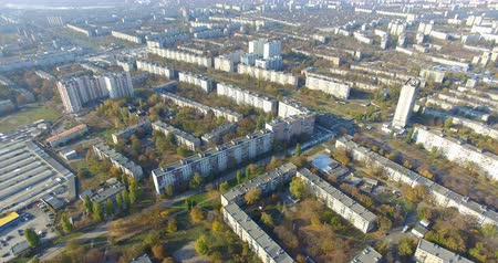 Aerial panoramic view of residential area Saltivka in Kharkiv Стоковые видеозаписи