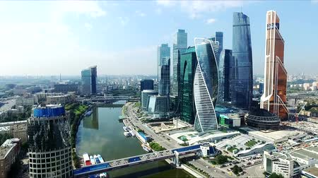 moscow panorama : Aerial view of Moscow-City over Moskva River. Moscow-City (Moscow International Business Center) is a modern commercial district in central Moscow.