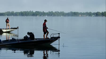 waters : Bemidji, MNUS - August 12, 2017: College bass fishing championship winners on Lake Irving Stock Footage