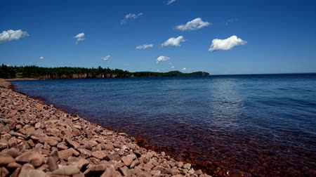 superior : Ionas Beach on the north shore of Lake Superior in Minnesota on a sunny day. Time lapse.