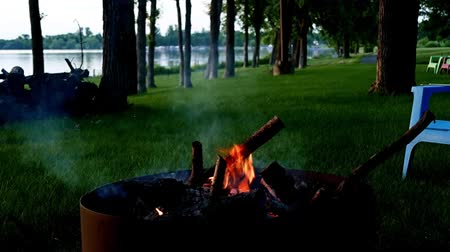костра : Crackling campfire in firepit near lakeshore in northern Minnesota on calm evening Стоковые видеозаписи