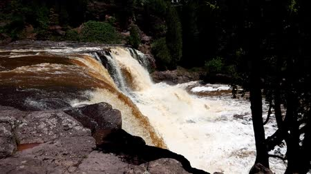 egres : Duluth, Minnesota - July 2, 2018: Gooseberry Falls, Beauty of nature, waterfall on the north shore of Lake Superior in Minnesota Stock mozgókép
