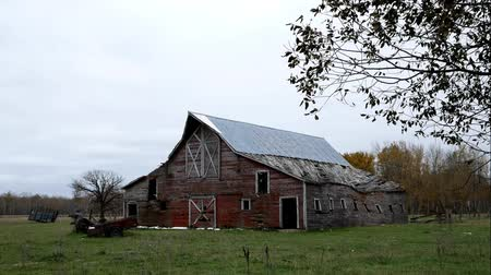 apodrecendo : Abandoned lonely dilapidated Farm Barn in northern Minnesota on dreary cloudy day