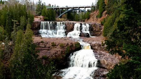 Gooseberry Falls State Park in Minnesota late autumn on the North Shore of Lake Superior Стоковые видеозаписи