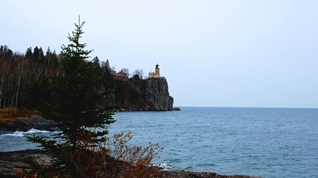 Single Spruce Pine Tree waves in breeze near Split Rock Lighthouse on the north shore of Lake Superior near Duluth and Two Harbors, Minnesota. Subtle zoom out. Стоковые видеозаписи