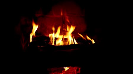 Cozy fireplace. Wood logs burning, dark background, relaxation and warm home, copy space, closup view, loop. Wideo