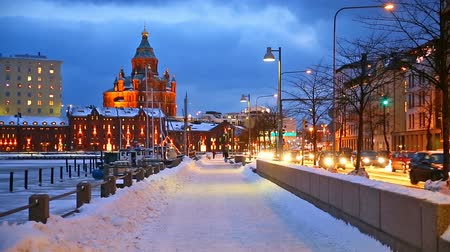 tourism : Winter scenery of the Old Town in Helsinki, Finland Stock Footage
