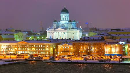 panorâmico : Winter night scenery of the Old Town in Helsinki, Finland