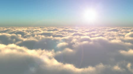 Scenic flight above the clouds towards the sun Wideo