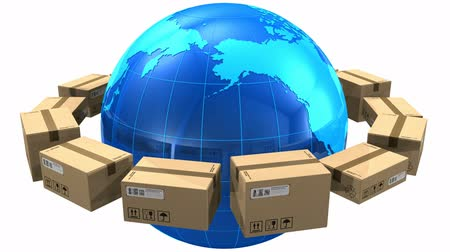 shipping : Worldwide shipping concept: row of cardboard boxes around blue Earth globe isolated on white background. Design is my own and all text labels and numbers are fully abstract