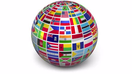 dönen : Rotating sphere with world flags isolated on white background