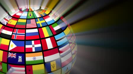 tourism : Global communication concept: glowing rotating globe with world flags on black background Stock Footage
