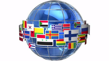 világ : Rotating Earth globe with world flags isolated on white background