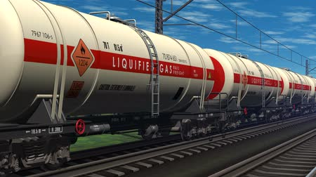 oil industry : Freight train with petroleum tank cars passing by the railway station. Design is my own and all text labels and numbers are fully abstract