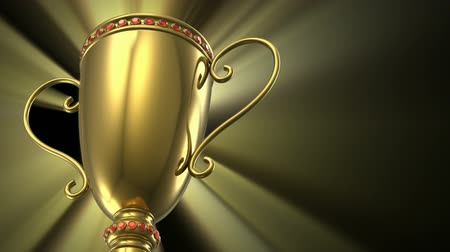 trofej : Award winning and championship concept: seamless loop golden glowing trophy cup on black background
