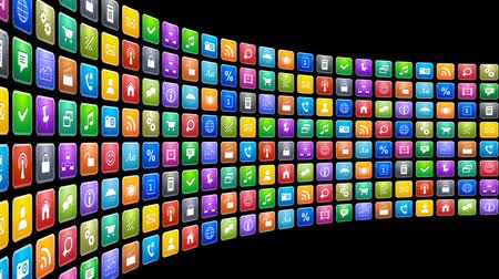 the media : Mobile applications concept: endless moving row of colorful app icons on black background. Design is my own
