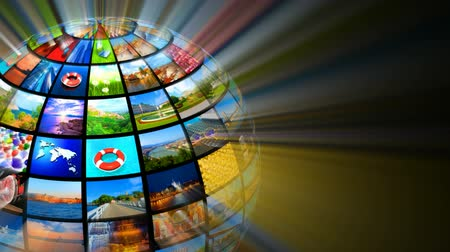 news tv : Creative media technologies concept: glowing sphere with images on black background. All photos are my own Stock Footage