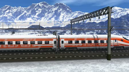 ekspres : Wonderful scenery of high speed train passing railway station in high snowy mountains. Design is my own and all text labels and numbers are fully abstract