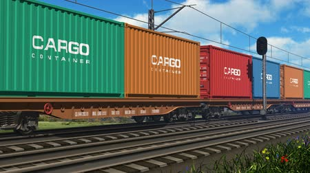 перевозка груза : Freight train with cargo containers passing by. Design is my own and all text labels and numbers are fully abstract Стоковые видеозаписи