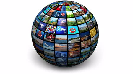 news tv : Rotating picture globe. All photos are my own Stock Footage