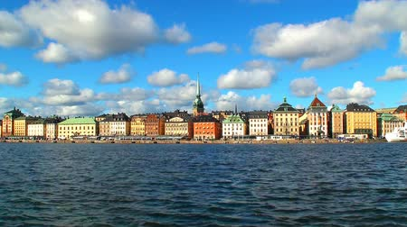 İskandinavya : Scenic zoom panorama of the Old Town (Gamla Stan) in Stockholm, Sweden