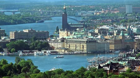 capital cities : Scenic summer aerial panorama of Stockholm, Sweden Stock Footage